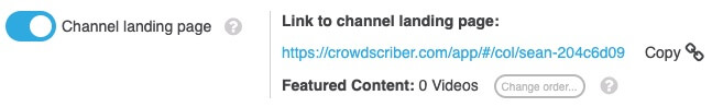 Channel landing page toggled on